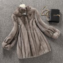 2015 popular fashion natural long mink fur coat with hood