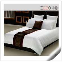 Pure White Linen Bedding Custom Embroidery Logo Cotton Hotel Bedsheet