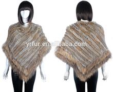 Las mujeres yr-830 conejo& perro mapache piel de poncho de lana baratos poncho