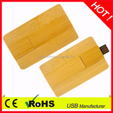 hot selling USB 2.0 credit card shaped natural wooden usb flash with high quality