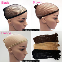Beauties Factory Hair Wig Net Cap Open End Stretchable Elastic Mesh Fishcap Weaving Snood - 3 Colors Available