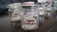 Clip top glass food jar with decal