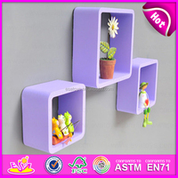 2015 Best colourful cube wall shelf,MDF Round Cube Wall Shelf Purple,3 Sets Round Corner Cube Wood Storage Wall Shelf W08C104E