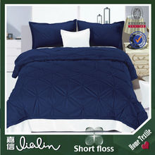 Nantong home textile king size/ queen size dark blue 100% polyester sheet set