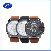 Vogue military leather watch strap quart wrist watch men for wholesale