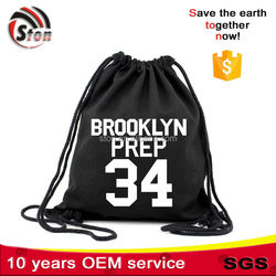 one colour customized logo organic cotton canvas cloth drawstring bags for sport