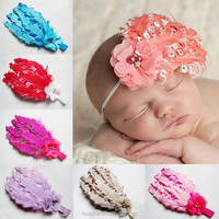 feather decoration with pearl hair band lovely baby girls hair accessories feather wedding hair accessories