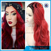 Halloween Ombre red color 20inch freestyle wavy synthetic lace front wig for women