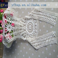 High quality 100% cotton machine embroidery lace collar ready made collars lace high neck collar patterns for dresses
