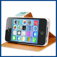 Floral Print Faux Leather Stand Flip Case with Magnetic Closure & Card Slots for iPhone 4/4S