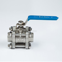 Bsp Bspt Npt 3pc Stainless Steel Ball Valve 1000 Wog Full Bore Lock Device Available