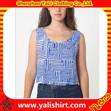 2015 new arrival fashion loose combed cotton sleeveless watermark print crop tops wholesale