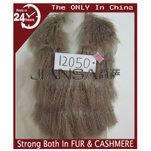 Fashion women real mongolian fur vest trimed rabbit fur and fox fur 12050