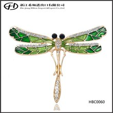 Safety pin Rhinestone animal animal Enamel dragonfly brooch with charms