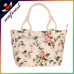 european popular large stylish printed cotton canvas tote bag
