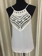 tops with narrow straps with stringer and lace simplely style chiffon fabric