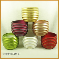 ceramic indoor christmas plant flower pots with horizontal lines