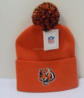 wholesale adult orange knitted ski hat with pom pom