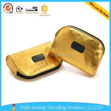 Wholesale high quality makeup ladies fancy golden cosmetic pouch