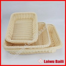 Handmade plastic pp rattan bread woven basket