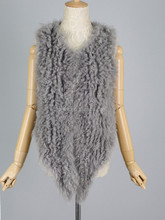 QC3045 natural real mongolian lamb fur knitted vest
