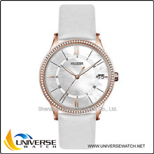 High end water resistant couple lover quartz watch UN5077 with genuine leather strap