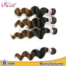 XBL charming design comfortable and soft touch Indian factory wholesale price Indian ombre1bt4 loose wave remy hair