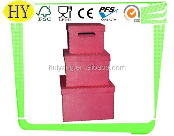 Vermelho manchado decorativo caixa de armazenamento de madeira