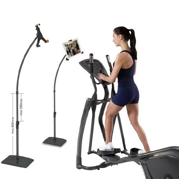 Adjustable tablet floor stand holder for ipad compliant with treadmill