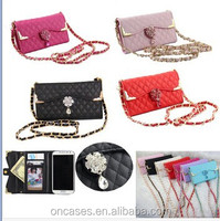 with shoulder hanging strap Luxury cute envelope wallet sheep leather bag case for samsung galaxy s6 edge
