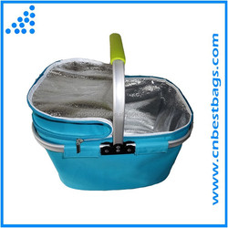 2015 Durable 34L Capacity Foldable Insulated Picnic Basket Thermo cooler basket with Aluminum Frame