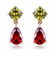 2015 Fashion Jewelry Top Design High Quality Copper Big Red And Green Zircon Real Rose Gold Plated Drop Earrings E111210