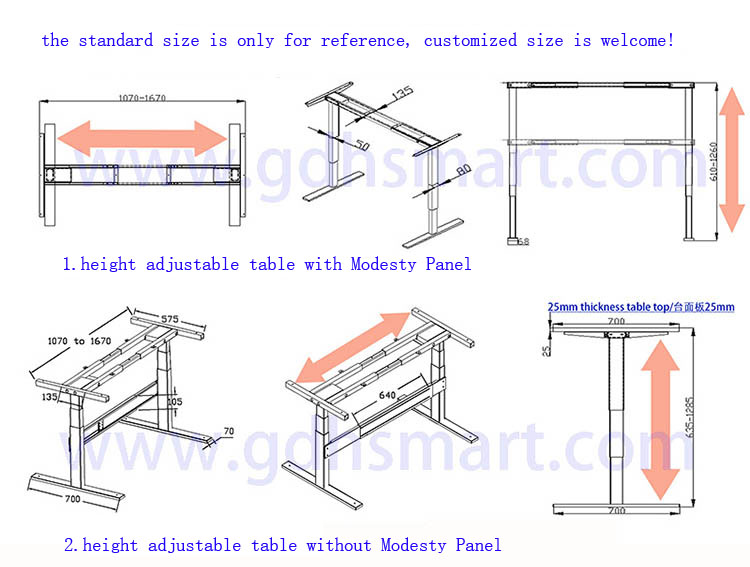 Electric Lifting Table Frame Executive Office Desk Metal