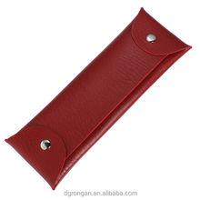 China wholesale red custom logo PU leather school office pen / pencil pouch / bag / case F06-003