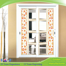 Good quality white aluminum alloy sliding doors with maple crystal glass including hardware accessories