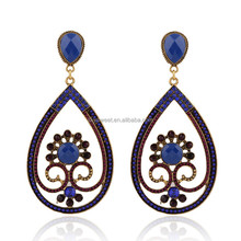 Gem drop shape chain diamond Zinc Alloy dangle earring ,rhinestone earrings