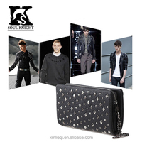 SK-8020 new design men rivet leather wallets with round zipper