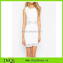 Cheap knit women clothing 2015 woman summer white crochet ladies dress