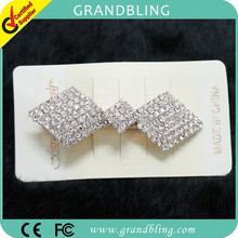 Rhinestone bow shaped hand made hair pins manufacturer