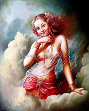 Factory Price Skilled Artists Handmade Beautiful Girl Red Hair Traditional Khmer Apsara Dancer Oil Painting on Canvas