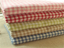 Plaid fabric cotton linen fabric clothes