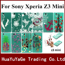 Free shipping phone cases coloured drawing TPU cover Emboss color print Flower case For Sony Xperia Z3 Mini Z3 Compact