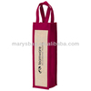non woven Wine Gift Tote with laminated jute panels