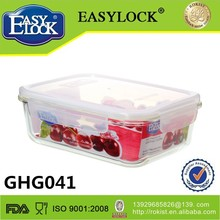 1600ml rectangular tableware glass logo printing food storage container with lid