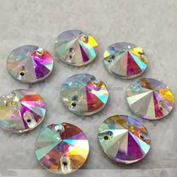 crystal AB round sew on rhinestones for garment