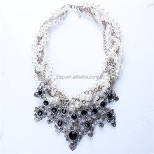 Pearl Knitted Necklace Resin Crystal Flower Pendant Necklaces Women Jewelry