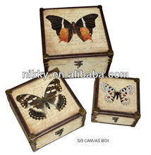 Wooden box & small container & gift box with printed canvas and leather edge