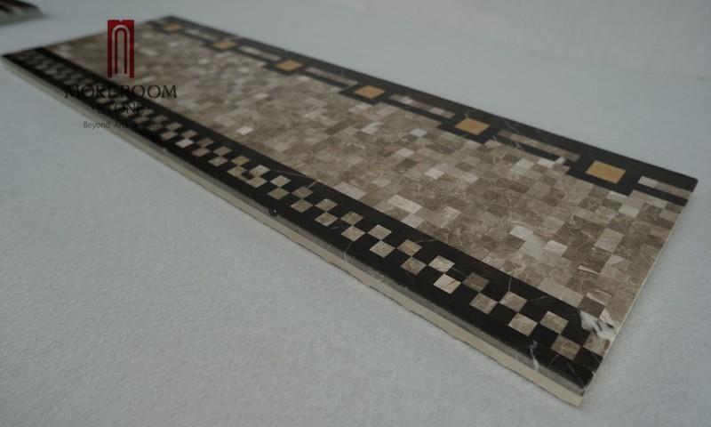 Marble Floor Borders : Turkish grey marble casti mosaic border