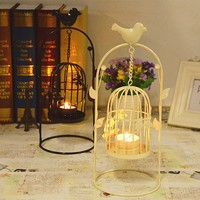 European-style classical portal bird cage decorative metal candle holder with leaves and flowers
