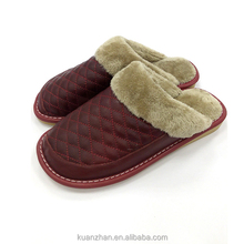 Genuine cow leather TPR winter man slipper plush slipper